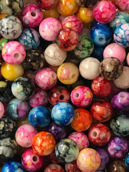 The Bead and Button Box - 100 Pretty Colourful Acrylic Ink Spot Beads, Mixed Colours, 8mm, Hole: 1.6mm;