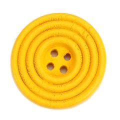 The Bead and Button Box - 10 Bright Yellow Wooden Concentric Circle Design Buttons 25mm