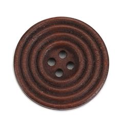 The Bead and Button Box - 10 Dark Coffee Brown Wooden Concentric Circle Design Buttons 25mm