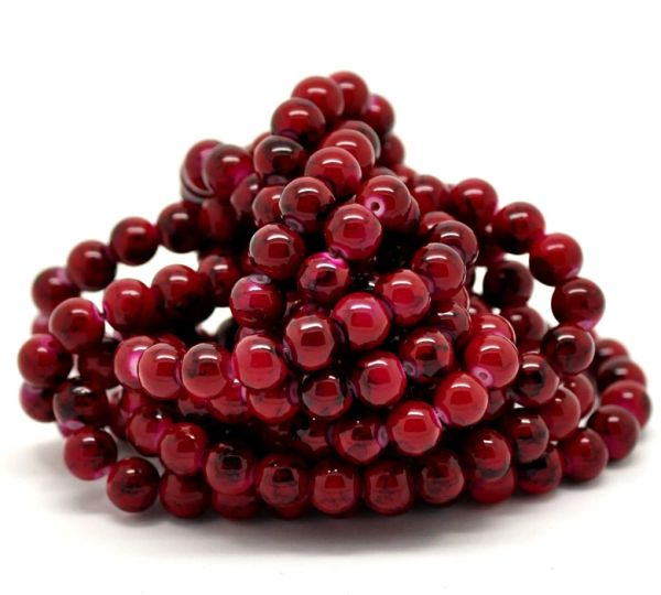 100 Loose Glass Marbled Beads. 8mm. Deep Red