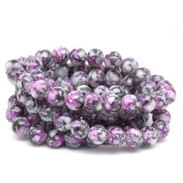 100 Loose Glass Marbled Beads. 8mm. Dark Pinky Grey