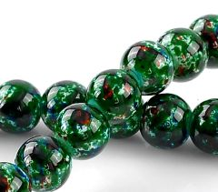 100 Loose Glass Marbled Beads. 8mm. Dark Green
