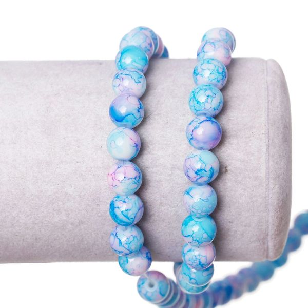 The Bead and Button Box. - 100 Loose Glass Marbled Beads. 8mm. Pinky Blue
