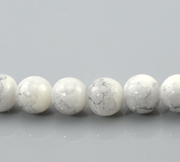 100 Loose Glass Marbled Beads. 8mm. Grey White