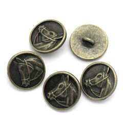 The Bead and Button Box - 6 Bronze tone Horse Head Design Metal Shank Buttons 15mm