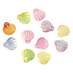 The Bead and Button Box - 10g Very Pretty AB Shell Design Sequins. Assorted Colours. 14mm