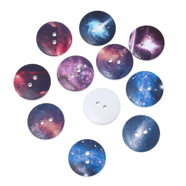 The Bead and Button Box - 10 Very Unusual Space Design Wooden Buttons. 20mm. Assorted Designs