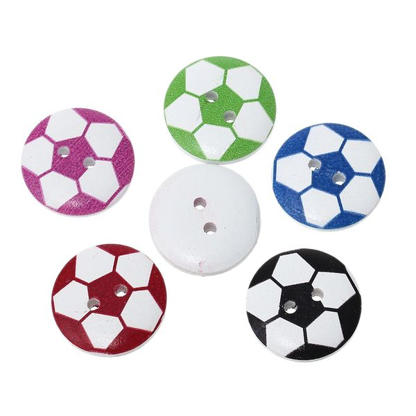 The Bead and Button Box - 10 Football Design Wooden Buttons. 20mm. Assorted Colours