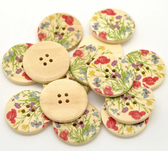 The Bead and Button Box - 10 Very Pretty Spring Flower Meadow Design Wooden Buttons. 30mm