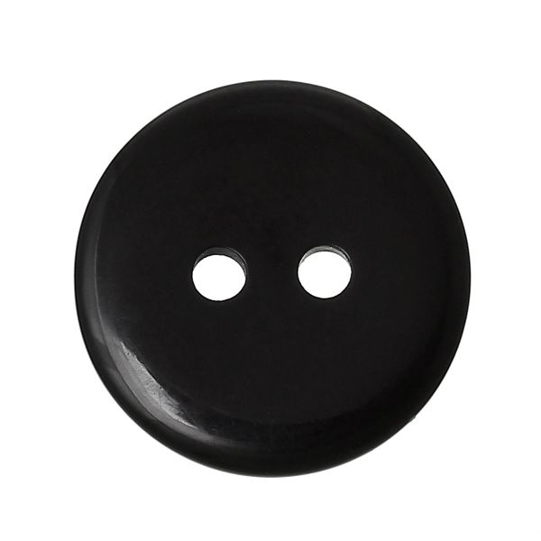 The Bead and Button Box - 10 Resin Black Buttons. 18mm. Ideal for sewing, Knitting, Crochet, scrapbooking, card making and other Craft Projects