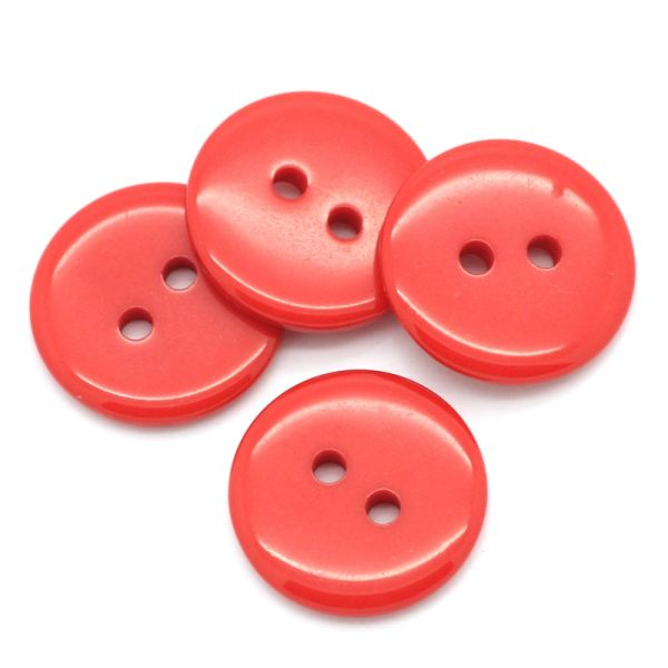 The Bead and Button Box - 10 Resin Red Buttons. 18mm. Ideal for sewing, Knitting, Crochet, scrapbooking, card making and other Craft Projects