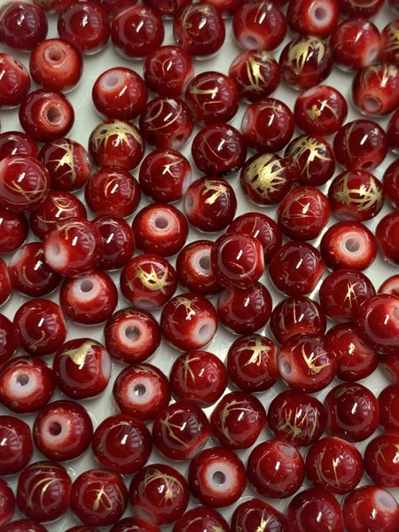 The Bead and Button Box - 140 Red and Gold Glass Drawbench Beads 6mm. Ideal for Jewellery Making