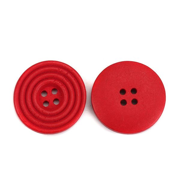 The Bead and Button Box - 6 Bright Red Wooden Concentric Circle Design Buttons 25mm