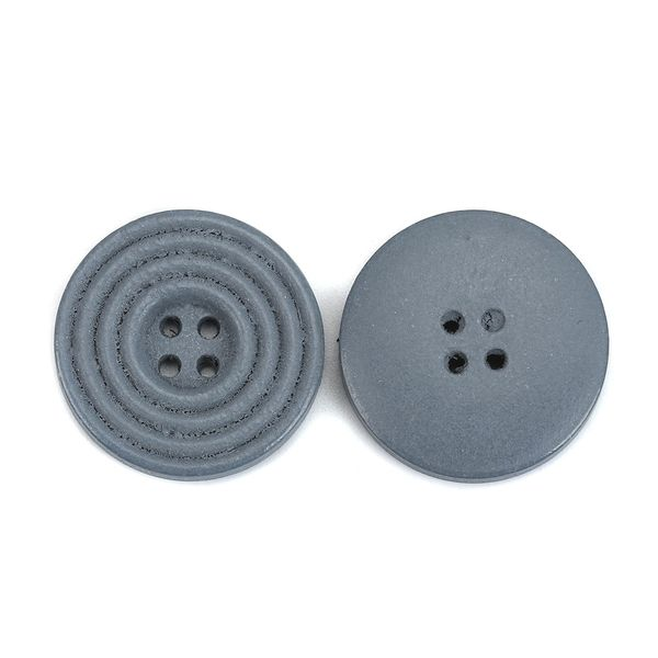 The Bead and Button Box - 6 Grey Wooden Concentric Circle Design Buttons 25mm