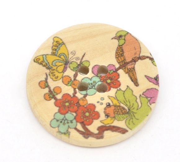 The Bead and Button Box - 10 Wooden Japanese Style Bird and Butterfly Buttons 30mm