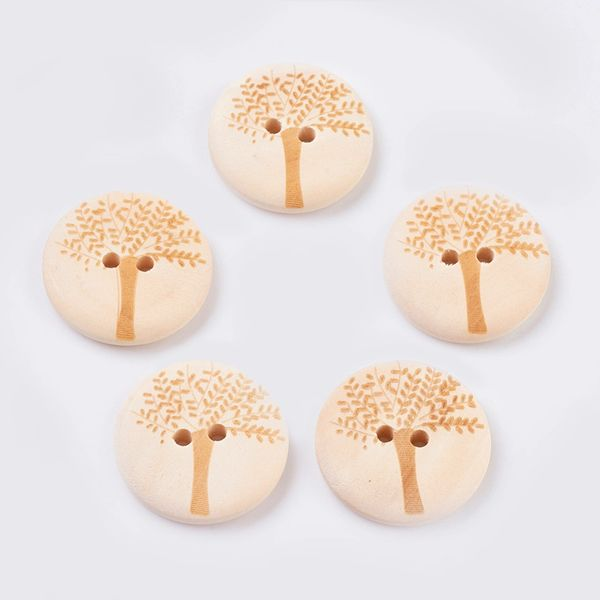 10 Large Wooden Natural Tree Design Round Sewing Buttons 30mm