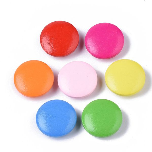 6 Wooden Bright Cerise Pink Shank Buttons 20mm, Ideal for sewing, knitting, scrap books, card making and other craft projects