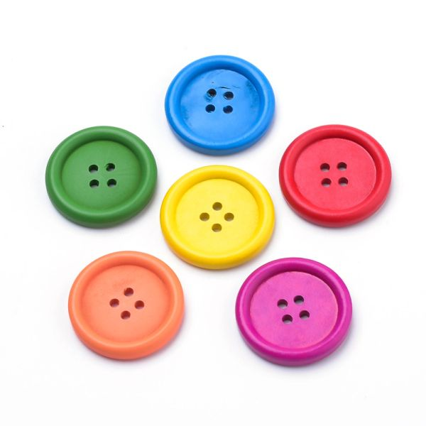 6 Wooden Cerise Pink Buttons 25mm, 4 Holes. Ideal for sewing, knitting, scrap books, card making and other craft projects