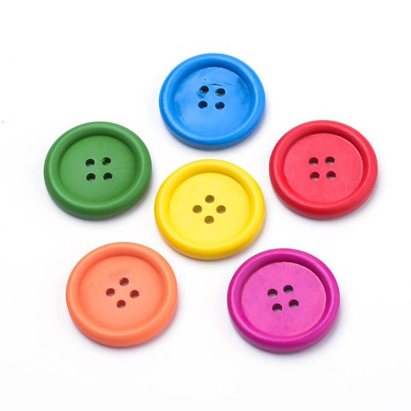6 Wooden Bright Blue Buttons 25mm, 4 Holes. Ideal for sewing, knitting, scrap books, card making and other craft projects