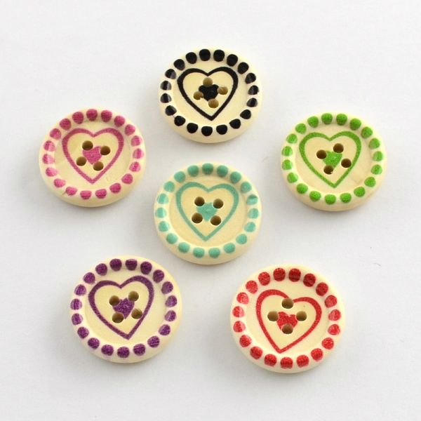 20 Assorted Colour Heart Design Wooden Button. 20mm, Ideal for sewing, knitting, scrap books, card making and other craft projects