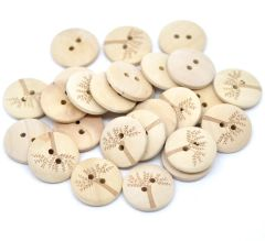 20 Wooden Natural Tree Design Round Sewing Buttons 20mm