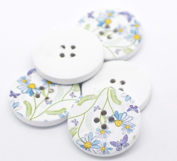 The Bead and Button Box - 10 Wooden Blue Daisy and Butterfly Design Buttons 30mm