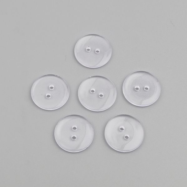 The Bead and Button Box - 10 Clear Transparent Resin Buttons 23mm. Ideal for sewing, scrap booking, card making, jewellery, and other craft projects