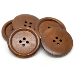 The Bead and Button Box - 5 Large Chestnut Brown Wooden Buttons 40mm