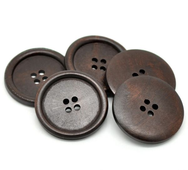 The Bead and Button Box - 3 Large Very Dark Brown Wooden Buttons 50mm