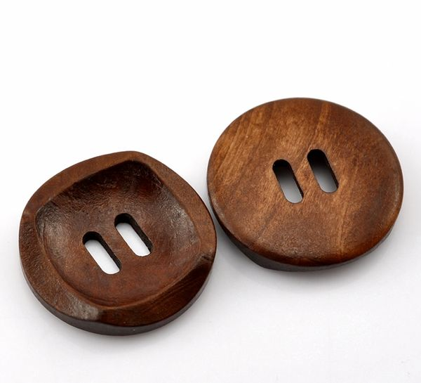 The Bead and Button Box - 10 Modern Design Wooden Buttons, Chestnut Brown 30mm