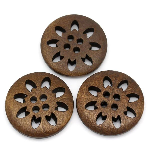 The Bead and Button Box - 10 Wooden Snowflake - Flower Design Buttons 25mm