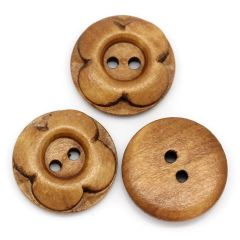20 Smoked Yellow Carved Flower Design Wooden Button 20mm