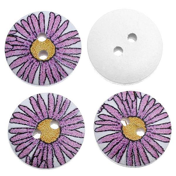 10 Purple Sun Flower Design Wooden Button 18mm