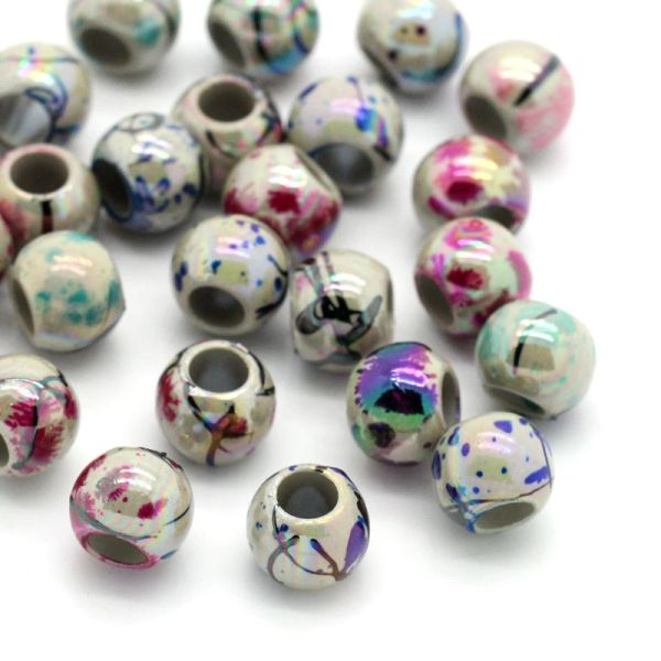 "100 Acrylic Drawbench Beads. 8.0mm( 3/8"") Dia, Hole: Approx 4.0mm,"