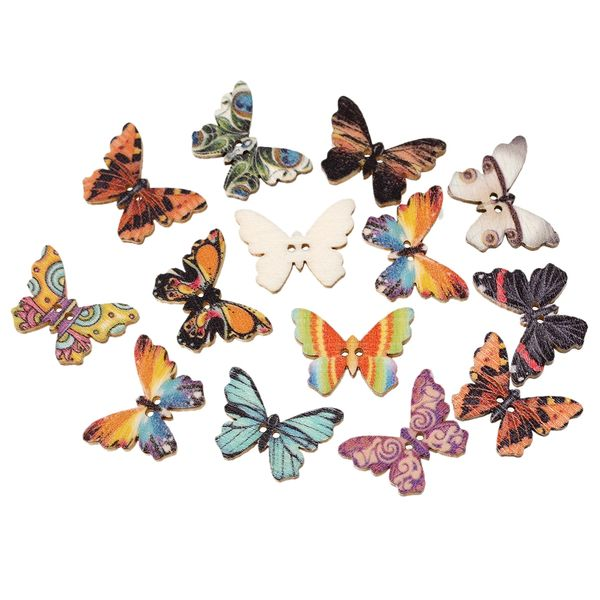 20 Multicoloured Wooden Butterfly Buttons Two Holes 25.0mm x 18.0mm