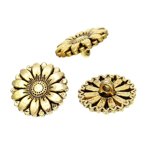 The Bead and Button Box - 6 Gold Tone Metal Sunflower Buttons 18mm