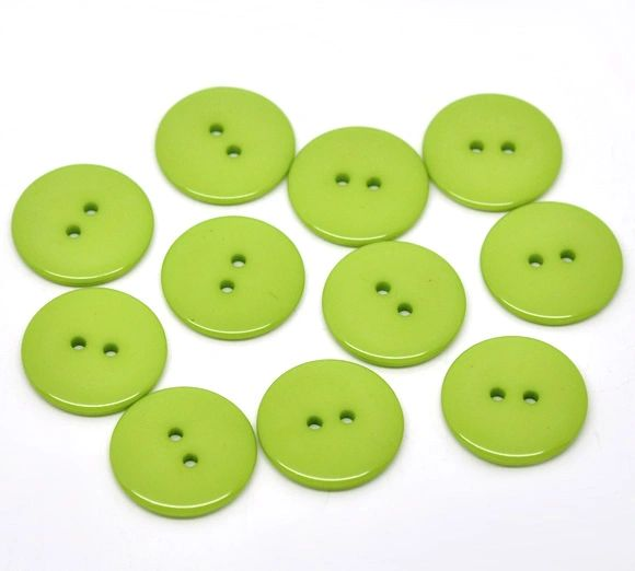 The Bead and Button Box. 10 Lime Green Resin Buttons. 23mm