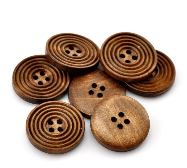 The Bead and Button Box - 10 Wooden Multi Circled Chestnut Brown Buttons 25mm
