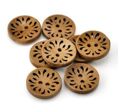The Bead and Button Box - 10 Hollowed Design Carved Wood Buttons 23mm