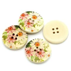 The Bead and Button Box - 10 Wooden Summer Daisy Design Buttons 30mm