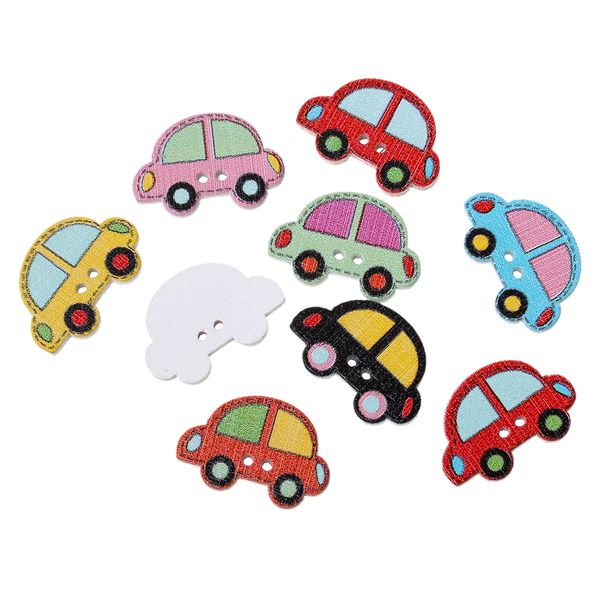 20 Assorted Wooden Car Design Buttons 25mm