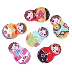 20 Assorted Colour Wooden Russian Doll Buttons.. 3cm