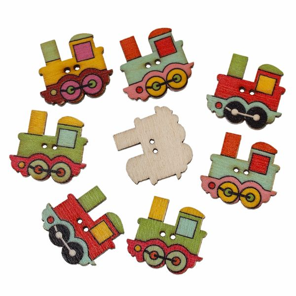 20 Assorted Colour Wooden Train Buttons 22mm