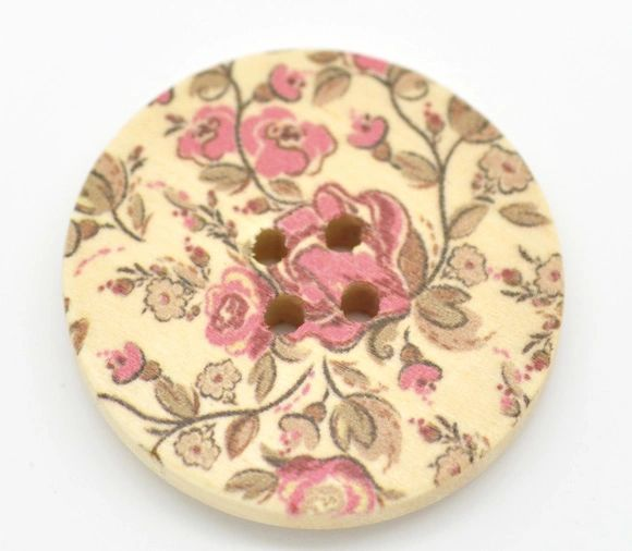The Bead and Button Box - 10 Wooden Natural Flower Sewing Buttons 30mm. Great for Sewing, Knitting, Scrapbook and other Craft Projects
