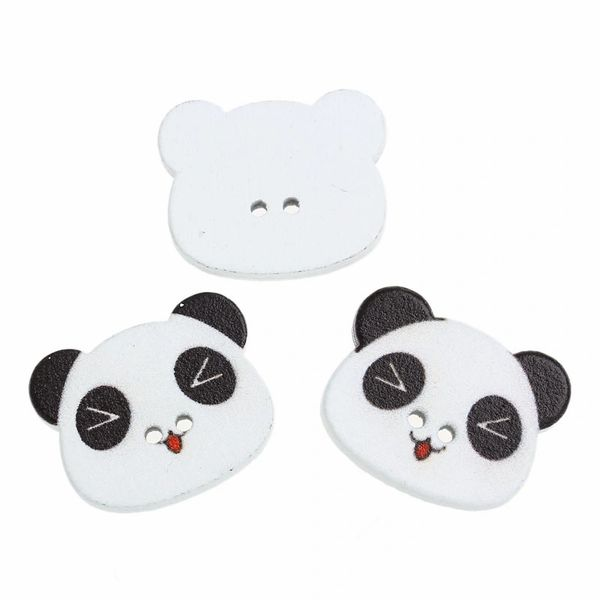 10 Wooden Panda Buttons 23mm