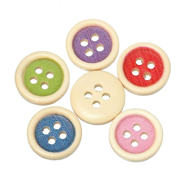 25 Natural with Colour inset 4 Hole Wooden Buttons 15mm