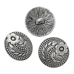 The Bead and Button Box - 6 Antique Silver Tone Metal Carved Flower Buttons 17mm