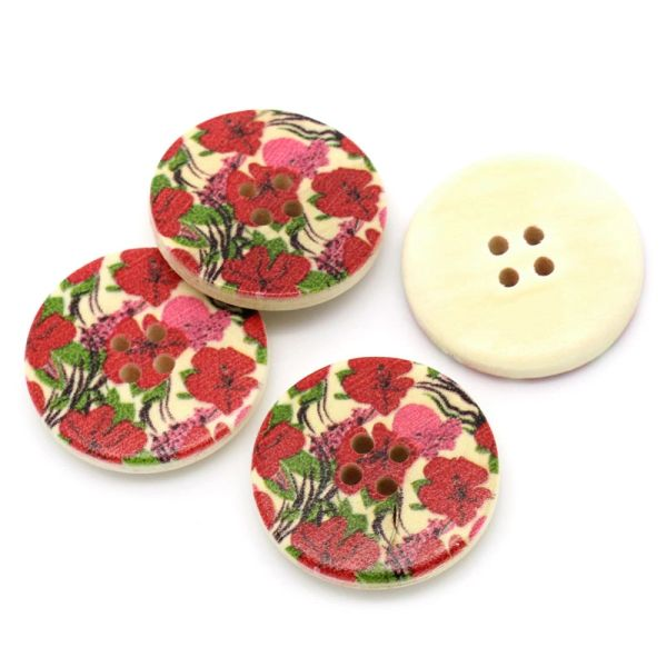 The Bead and Button Box - Red and Pink Poppy Flower Wooden Buttons 30mm