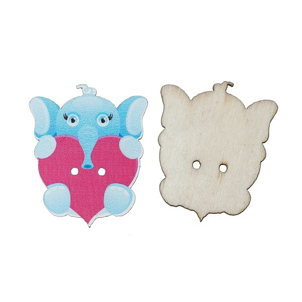 20 Wooden Elephant and Heart Buttons 3.2cm