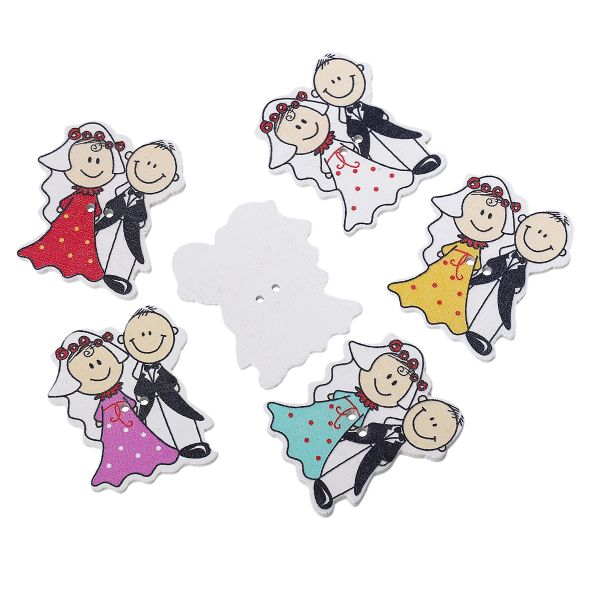 10 Wooden Bride and Groom Buttons. Assorted Colours, 4cm